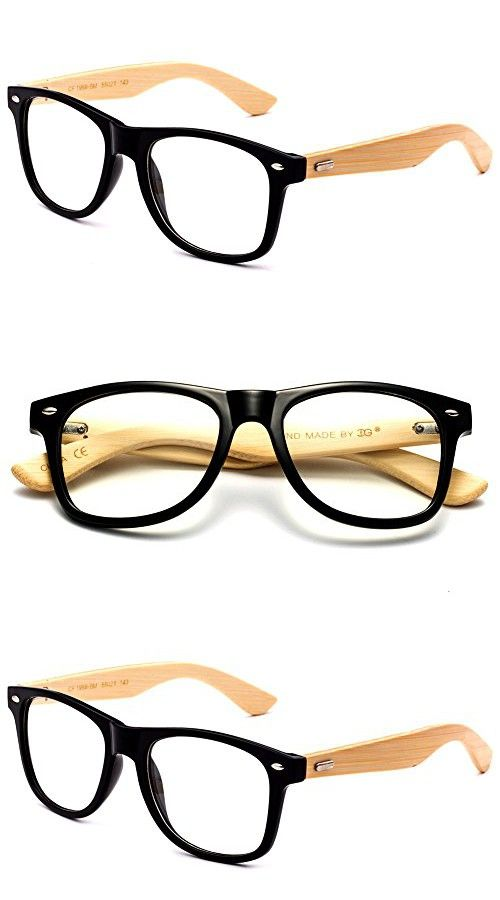 Newbee Fashion - Real Bamboo Temples Clear Frames Glasses Men Women ...