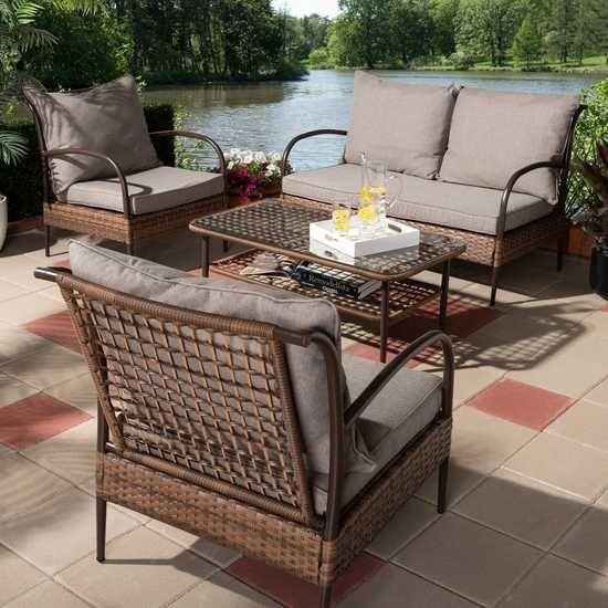 Mangelleto Brown 4 Pc Outdoor Seating Set Outdoor Furniture Sets