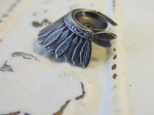 Vintage Sterling Silver Indian Headress Charm Beautiful Detail Nice Patina