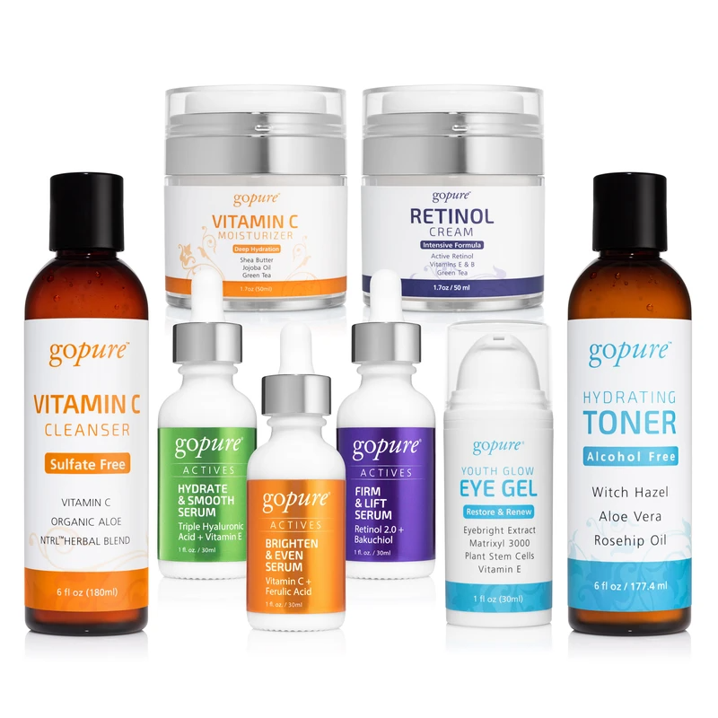 Gopure Complete 8 Product Kit With Actives Serums In 2020 Moisturizer Cream Eye Gel Hydrating Toner