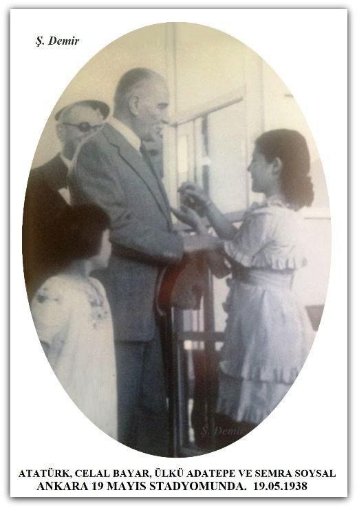 ATATÜRK, CELAL BAYAR, ÜLKÜ ADATEPE VE SEMRA SOYSAL ANKARA 19 MAYIS STADYOMUNDA. 19.05.1938