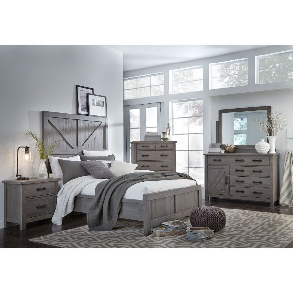 Clearance Gray Rustic Contemporary 4 Piece King Bedroom Set  Austin is part of Gray bedroom Furniture - Now at RC Willey, the rugged, rustic beauty of the Austin 4 piece king bedroom set takes a detour into contemporary territory with its straight lines and clean silhouettes  Its inviting gray finish will effortlessly blend in with your existing decor and provides a relaxed, airy vibe  Its solid pine construction and roughhewn plank detailing throughout adds to its effortless charm  Includes headboard, footboard, rails, door chesser, tilt mirror, and nightstand  Chest sold separately  Included in this set Gray Rustic Contemporary King Size Bed  Austin Now at RC Willey, the rugged, rustic beauty of the Austin rustic gray contemporary king size bed takes a detour into contemporary territory with its straight lines and clean silhouettes  Its inviting gray finish will effortlessly blend in with your existing decor and provides a relaxed, airy vibe  Its solid pine construction and roughhewn plank detailing throughout adds to its effortless charm  Gray Rustic Contemporary Nightstand  Austin Available at RC Willey, the rugged, rustic beauty of the Austin 2drawer nightstand takes a detour into contemporary territory with its straight lines and clean silhouettes  Its inviting gray finish will effortlessly blend in with your existing decor and provides a relaxed, airy vibe  Its solid pine construction and roughhewn plank detailing throughout adds to its effortless charm  Gray Rustic Contemporary Door Chesser  Austin Gray Rustic Contemporary Tilt Mirror  Austin