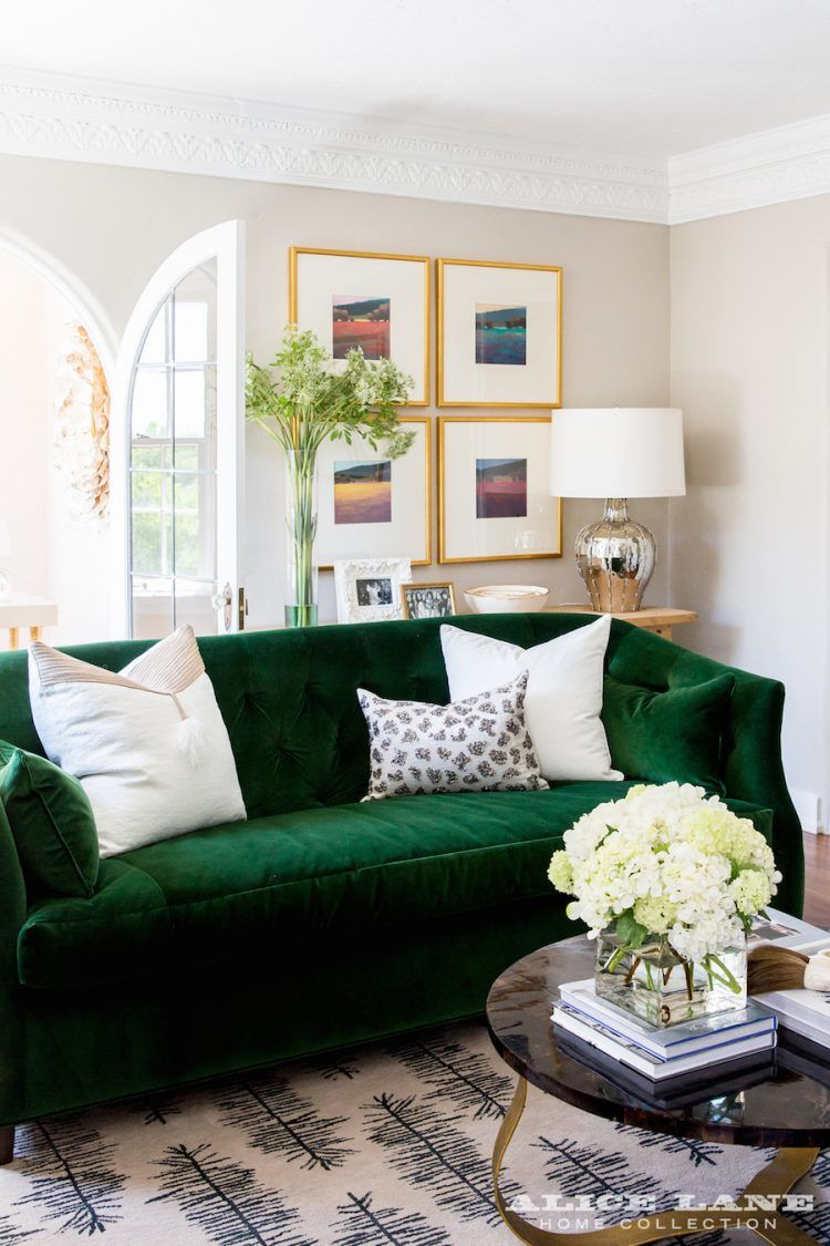 Green Velvet Sofa With White Throw Pillows In A Living Room By Alice Lane Home See More Http Green Sofa Living Room Green Couch Living Room Green Sofa Living