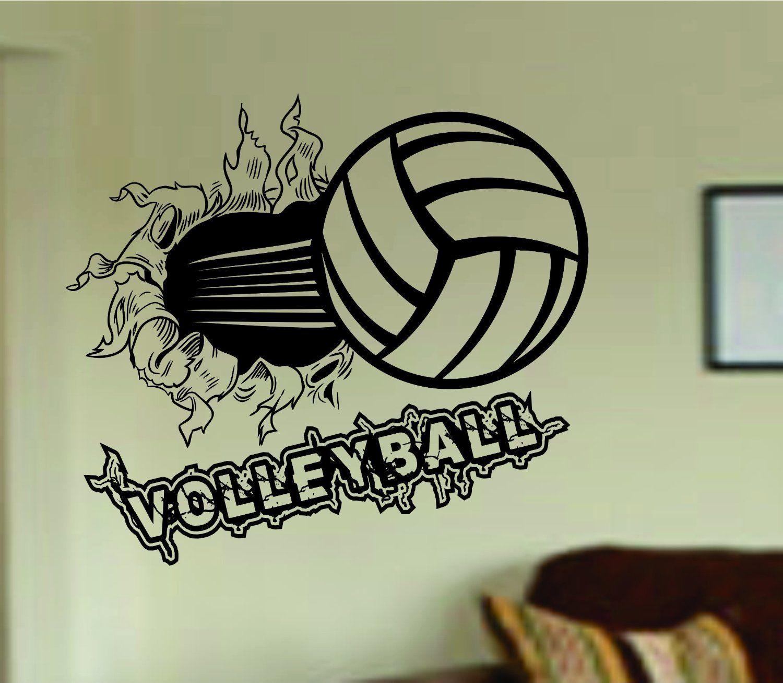 Dabbledown Decals Volleyball Bursting Through Wall Vinyl Wall Decal Sticker Art Sports Kid Children Ball Nurse Vinyl Wall Decals Wall Decal Sticker Sticker Art