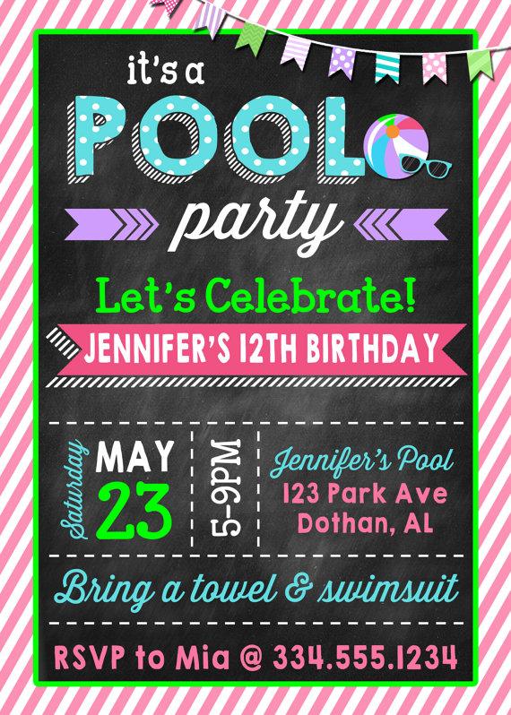 Pool party birthday invitation girl teen pool party beach party pool party birthday invitation girl teen pool party beach party teen beach party digital invitation filmwisefo Choice Image