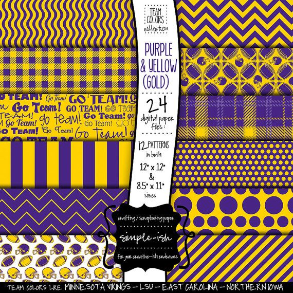 Football Scrapbook Paper Purple Yellow Gold Sports By Simpleish