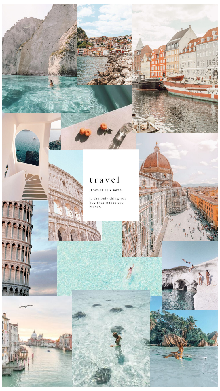 travel aesthetic wallpaper collage