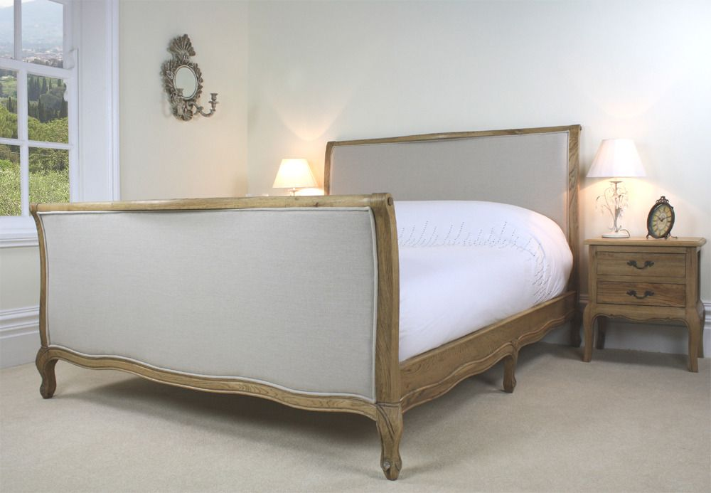french upholstered oak sleigh bed grey