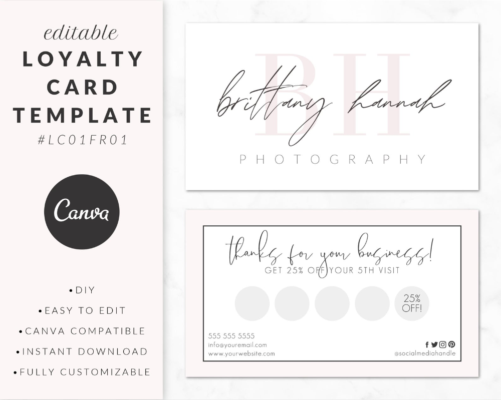 Loyalty Card Template For Canva Business Card Design Printable Diy Customizable Editable Instant Download Branding Lc01fr01 Loyalty Card Template Business Card Design Card Template