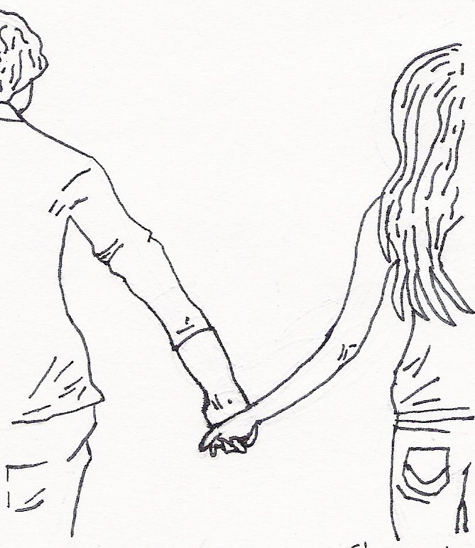 Couple holding hands drawing dating pitu