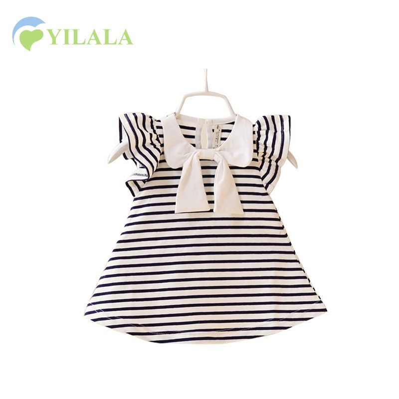 >> Click to Buy << Bowknot Baby Girl Dress Striped A-line Baby Dress Sleeveless Girl Summer Clothes Party Cotton Summer Dress Baby Girl Clothing #Affiliate