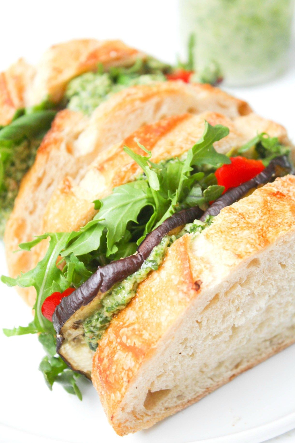 Roasted Eggplant Sandwiches With Vegan Arugula Walnut Pesto