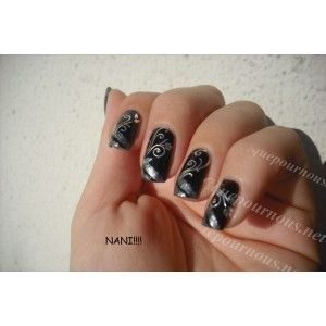 Stickers d'ongles Nail art Water decal argent Feuilles et arabesques