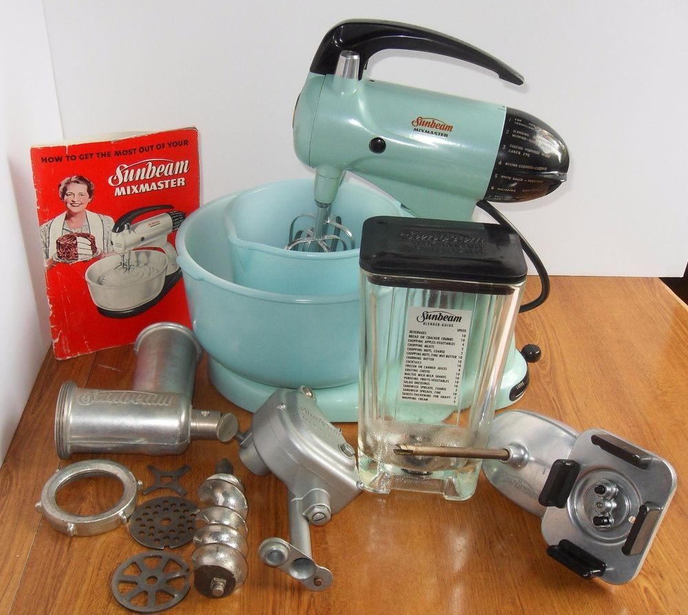 Vintage All Original Sunbeam Mixmaster Turquoise Aqua Mixer ...
