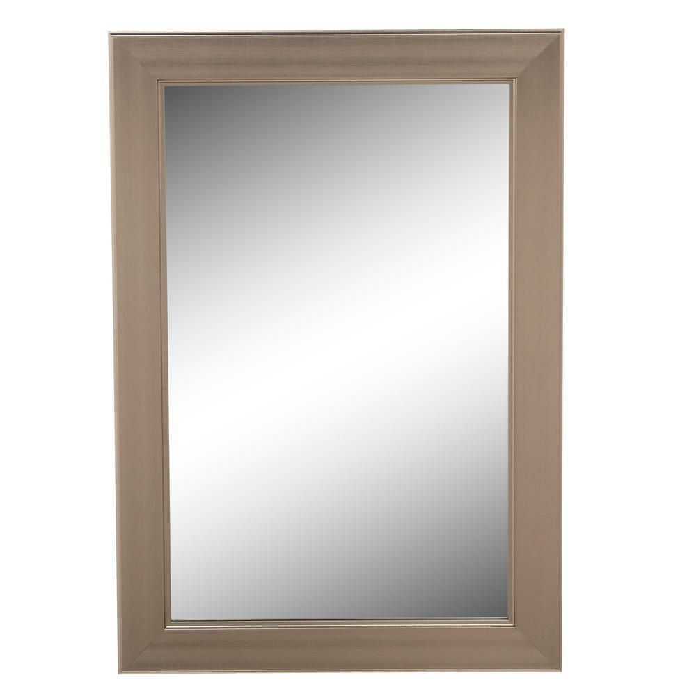 Home Decorators Collection 24 In W X 35 In H Framed Rectangular Anti Fog Bathroom Vanity Mirror In Modern Nickel 81156 The Home Depot Home Decorators Collection Framed Mirror Wall How To Clean Mirrors