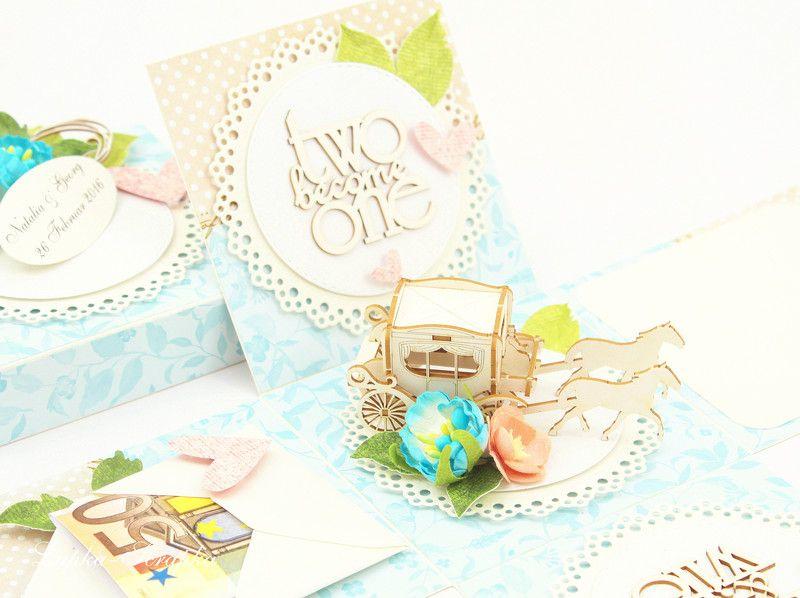 Geldgeschenke - Geldgeschenk Box zur Hochzeit, Exploding box blau - ein Designerstück von Lapka-Scrapka bei DaWanda