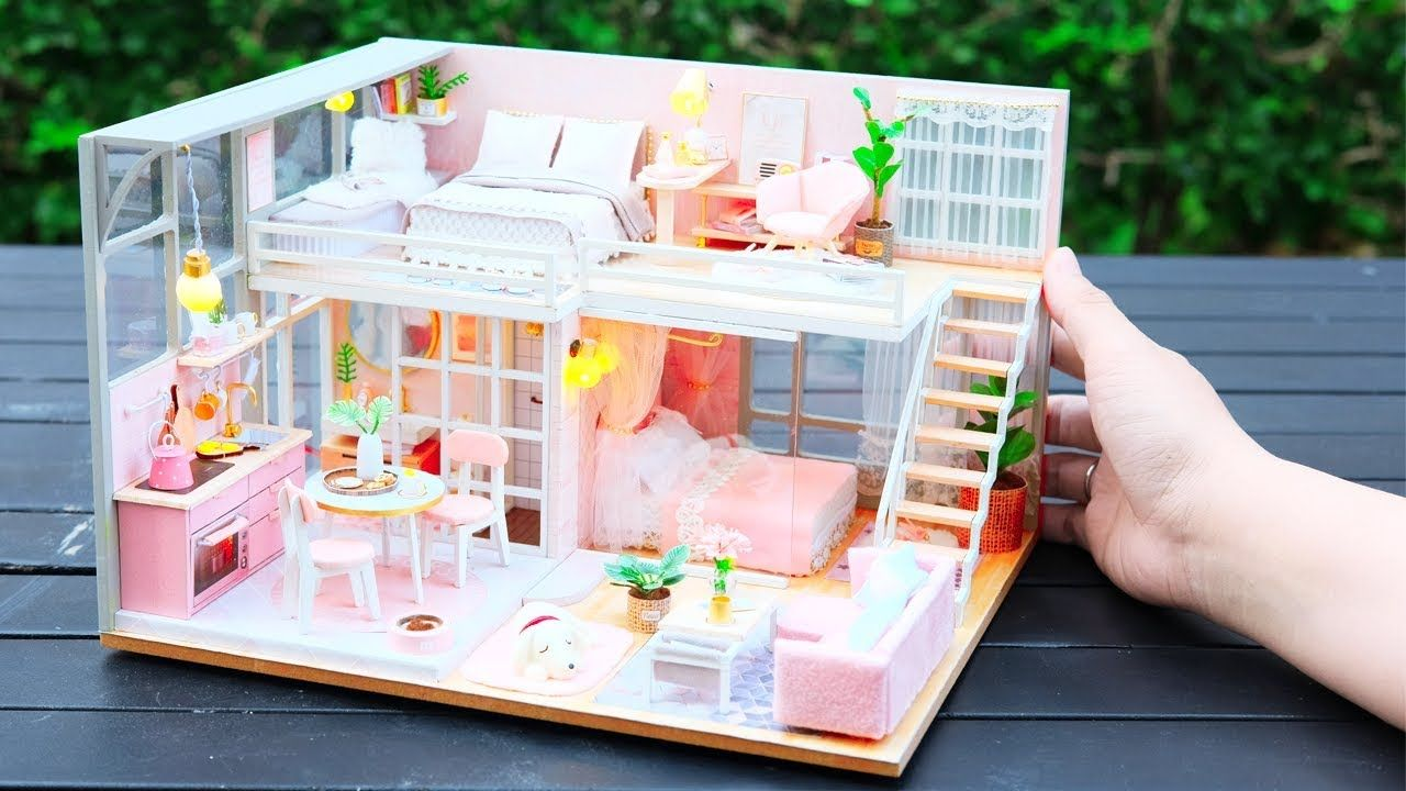 Diy Miniature Dollhouse Kit The Girlish Dream With Two Bedroom Youtube Dollhouse Miniatures Diy Dollhouse Kits Dollhouse Miniatures
