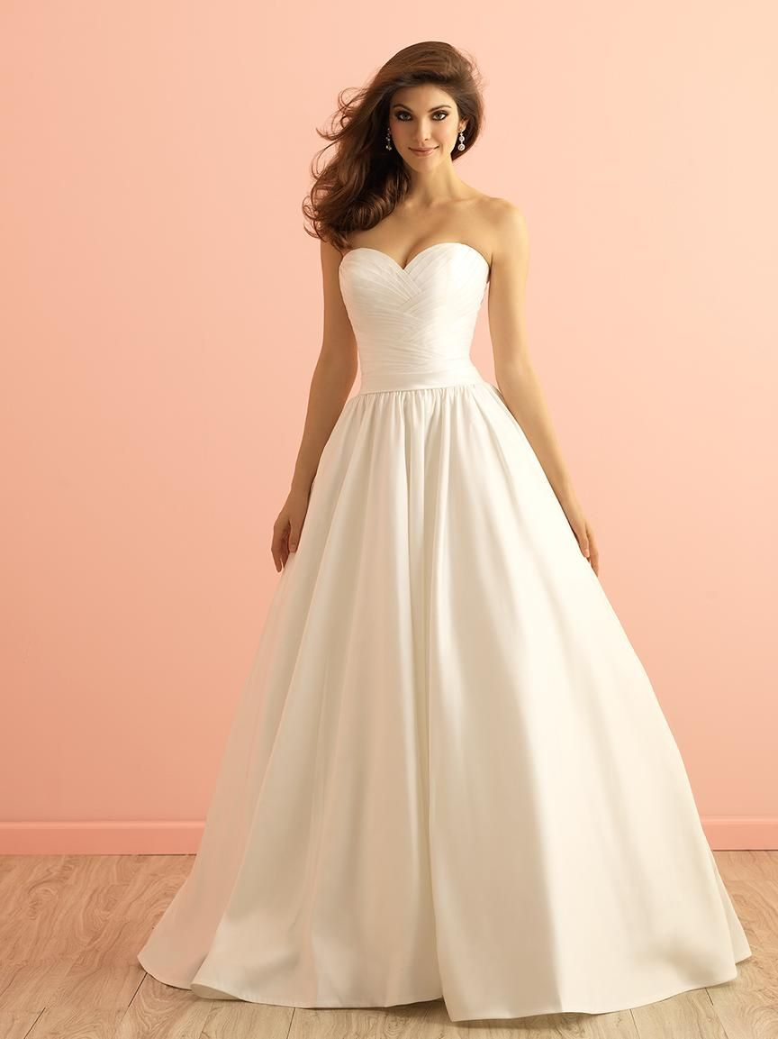 simple ball gown satin wedding dress strapless sweetheart neck ...