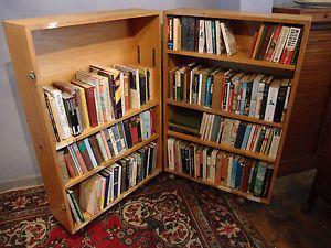 Antique Vintage Retro Folding School Bookcase Mobile Book Toy Storage W Wheels Doors Interior Bookcase Toy Storage