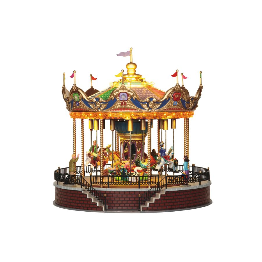 shop carole towne christmas resin lighted musical sunshine carousel at lowescom lemax village - Lowes Christmas Village