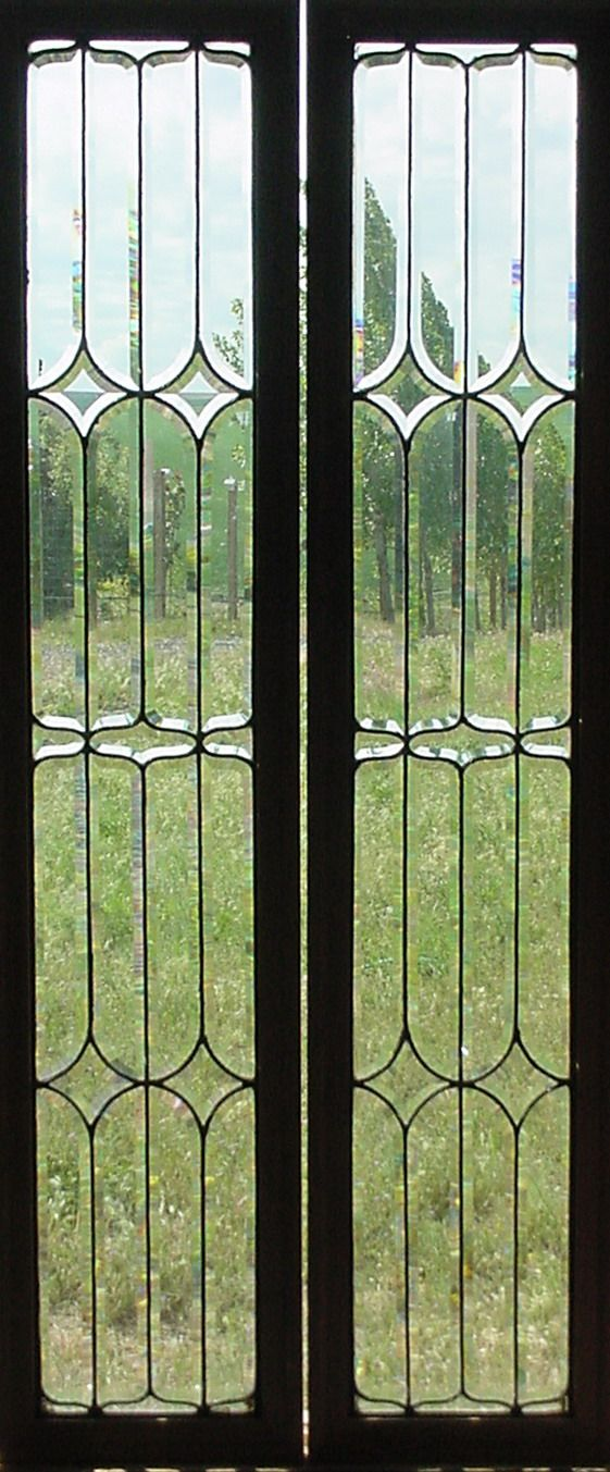 French Antique glass door panels | Pr. Antique American Beveled Glass  Sidelights 15