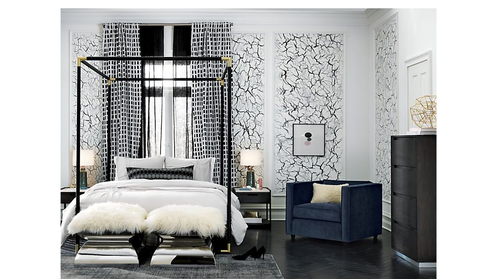 Frame black metal canopy bed Metal canopy bed, White