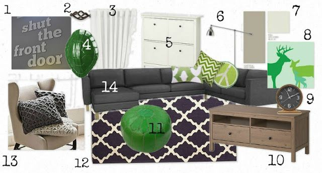Warm And Cozy Dining Room Moodboard: Living Room Moodboard - Purple, Green And Grey