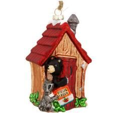 Outhouse With Raccoon And Bear Glass Ornament