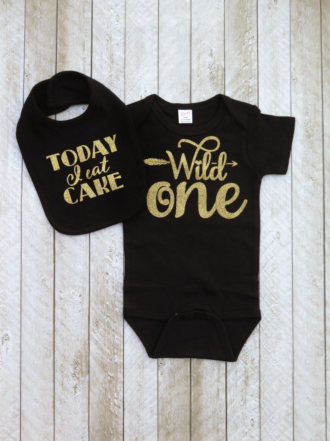 Wild one first birthday outfit Black and gold first birthday outfit One year old outfit Baby girl first birthday outfit Today I eat cake