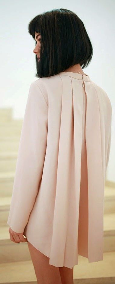 COS Pink Back Pleated Blouse by Maffashion - would look great over a black pencil skirt
