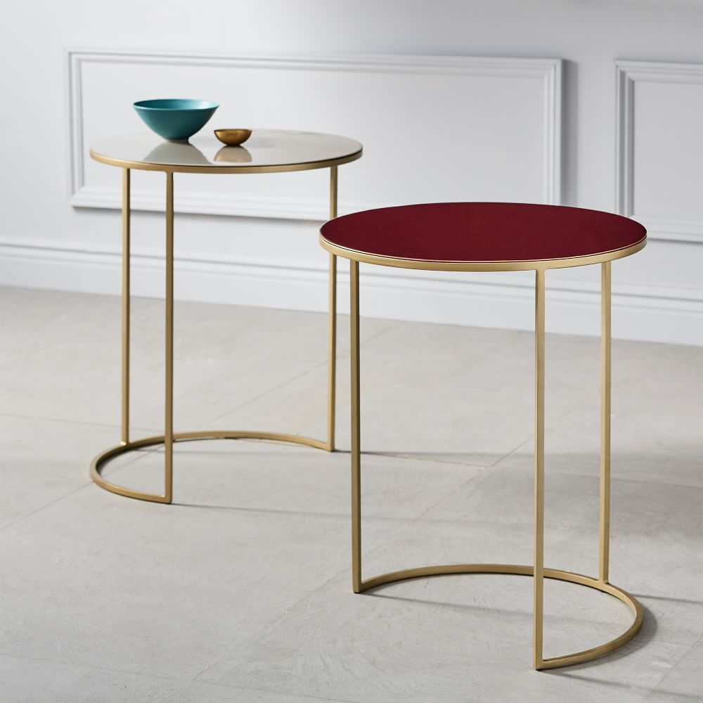 Enamel Round Nesting Tables Set Of 2 Furniture Side Table Modern Accent Tables [ 1000 x 1000 Pixel ]