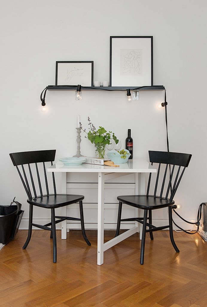 Classic Neat Small Dining Table Black Chairs Tiny Apartment In Sweden Picture