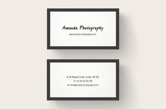 Black Frame Business Card Design Photography By TeaAndHoneyStudio