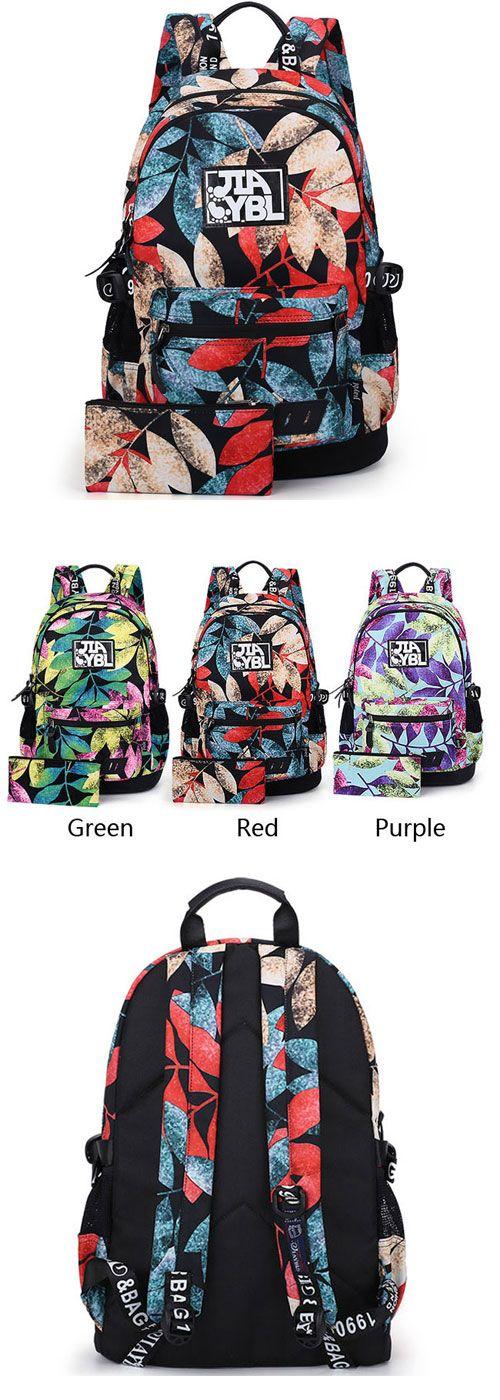 b5d51b6689 Harajuku Leaves Printing Rucksack Waterproof Large School Travel Backpack  for…