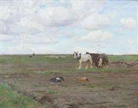 Ploughing c by Walter Frederick Osborne