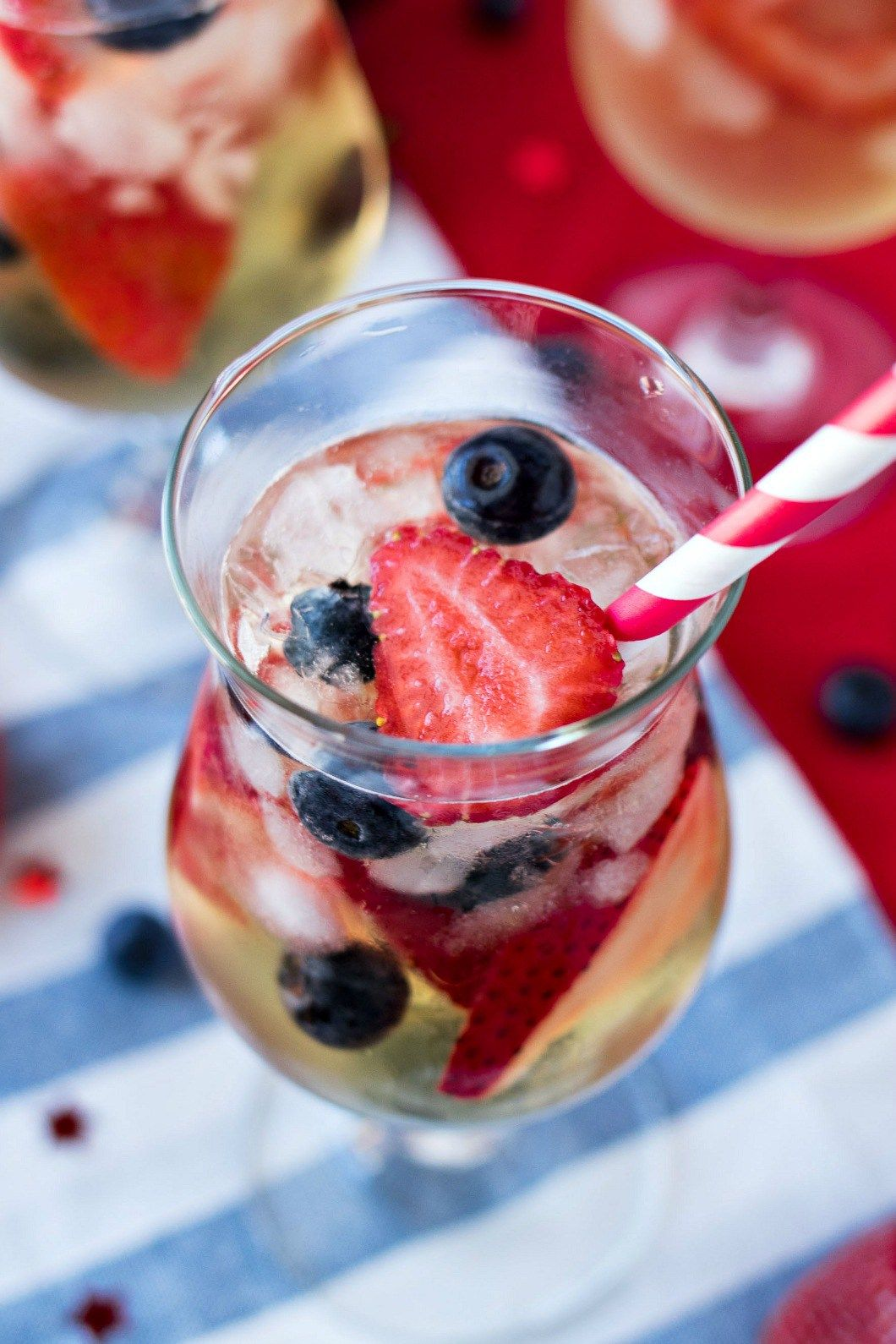 Red White Blue Sangria A Refreshing White Sangria Made With Dry White Wine Brandy And Tons Of Strawbe White Wine Sangria Gluten Free Alcohol White Wine