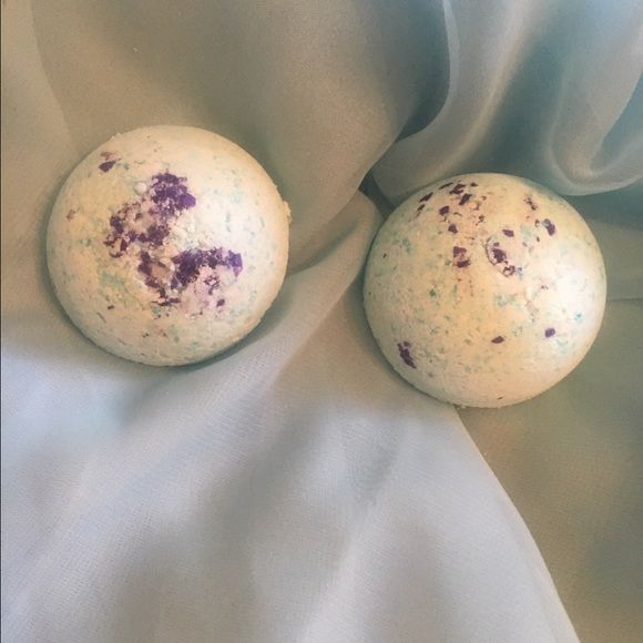 Large Dome Bath Bombs These have body safe purple glitter in them. They are vanilla scented and they fizz blue. $6 for 2. Other