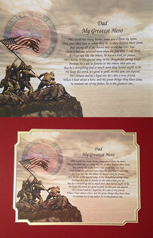 Gift For Marine Dad My Greatest Hero Poem Fathers Day Birthday Veterans