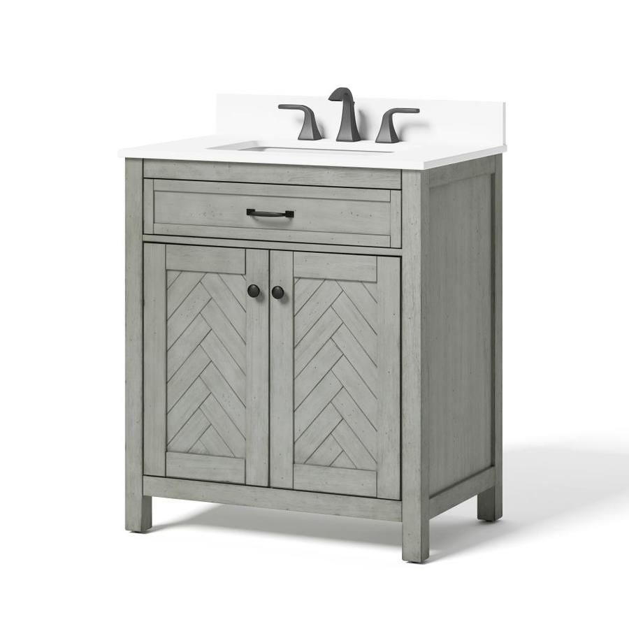 Allen Roth 30 In White Single Sink Bathroom Vanity With White Engineered Stone Top Lws30hbvw In 2020 Bathroom Sink Vanity Single Sink Bathroom Vanity