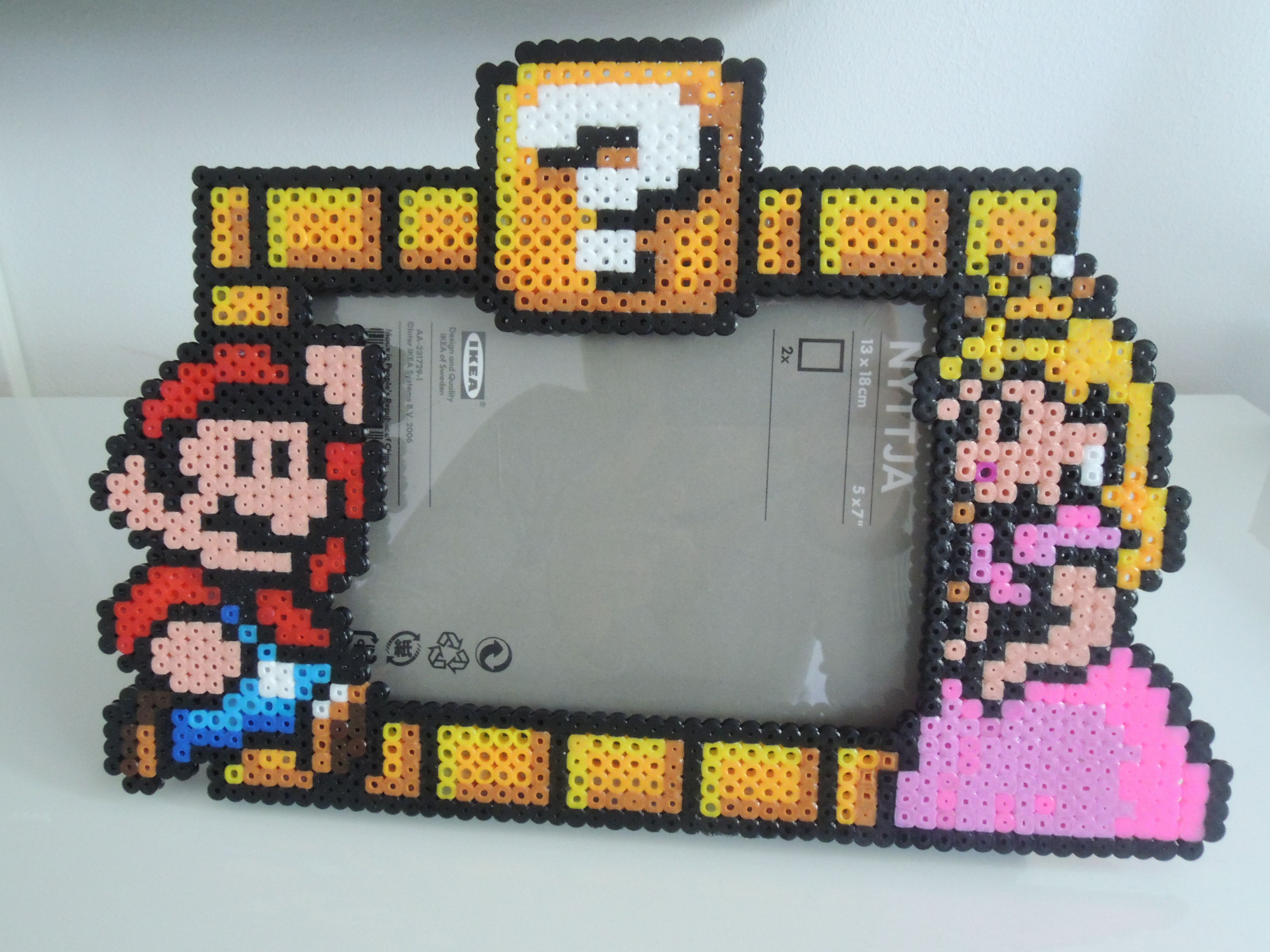 Bilderrahmen Mario & Peach Bügelperlen Perler Beads | Perler