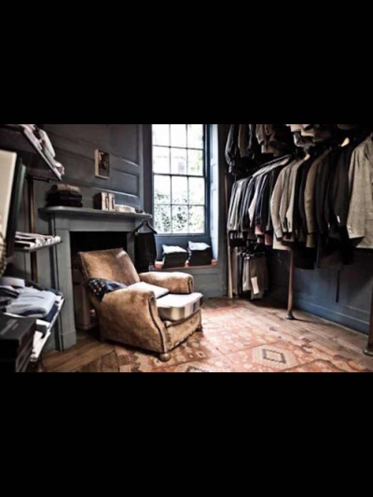 Love the Rug in This Repurposed Room as Gents Closet, very Handsome Touch.