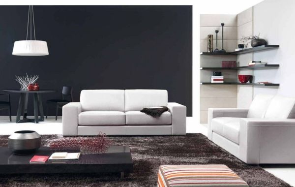 eckregale design wohnzimmer möbel brauner teppich weiße sofas - wohnzimmer mit brauner couch