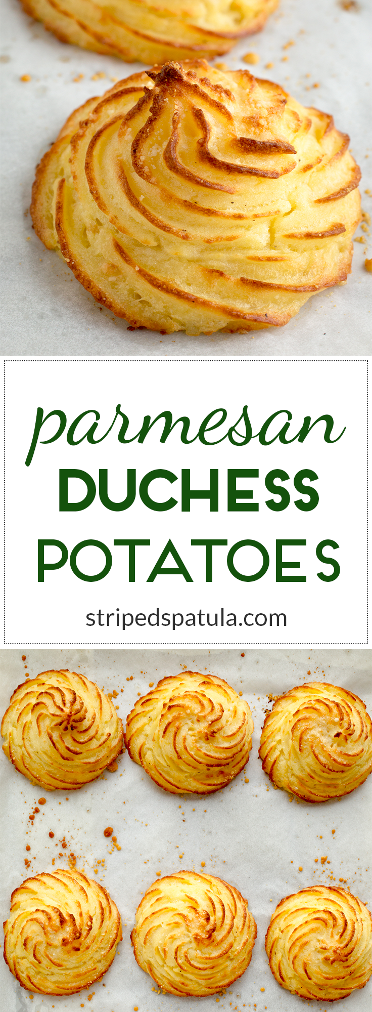 Duchess Potatoes With rich and creamy interiors and buttery, crispy edges, these beautiful potatoes are an elegant (and easy!) addition to any holiday feast.With rich and creamy interiors and buttery, crispy edges, these beautiful potatoes are an elegant (and easy!) addition to any holiday feast.