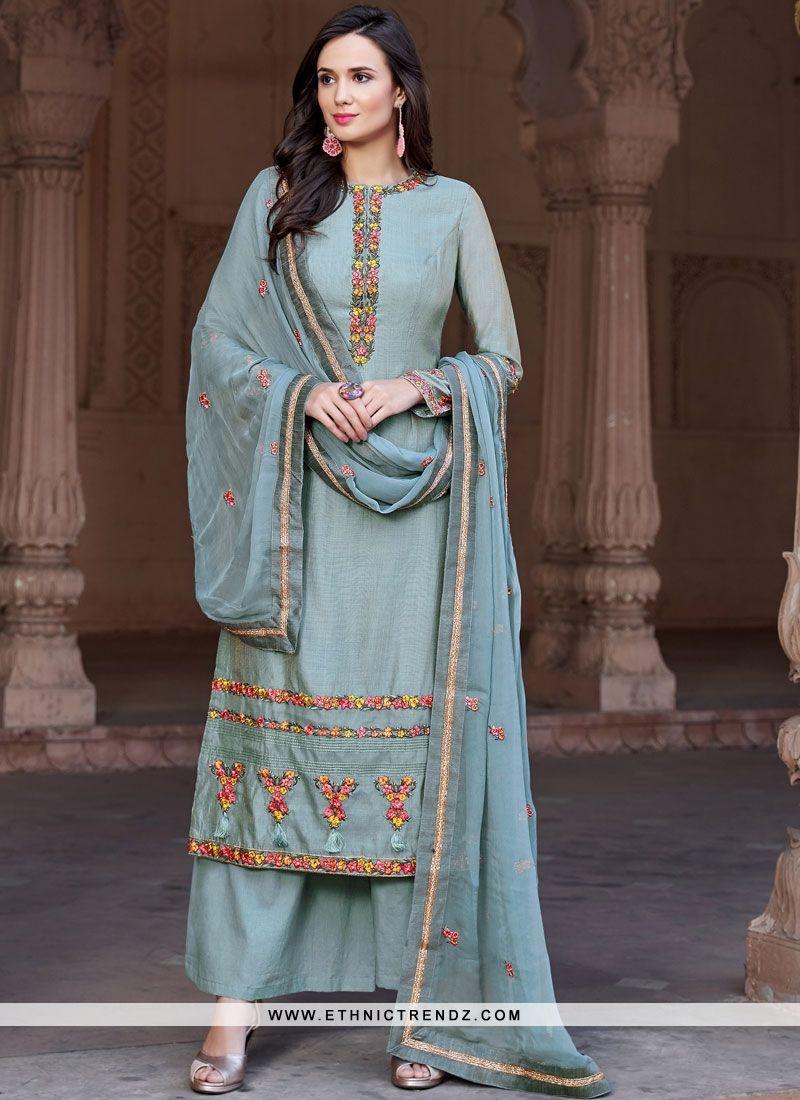 3d09501bb6 Heavenly Fancy Fabric Embroidered Blue Designer Pakistani Suit ...