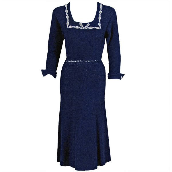Preowned 1940's Elegant Beaded Navy-blue Hourglass Hand-knit Wool... ($425) ❤ liked on Polyvore featuring dresses, 40s, swing dress, vintage, multiple, beaded dress, vintage dresses, vintage beaded dress, swing skirt and navy blue vintage dress