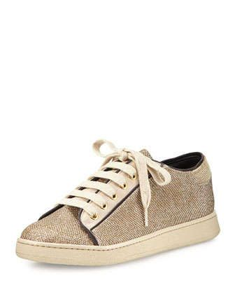Metallic Lace-Up Sneaker, Gold by Brunello Cucinelli at Neiman Marcus.