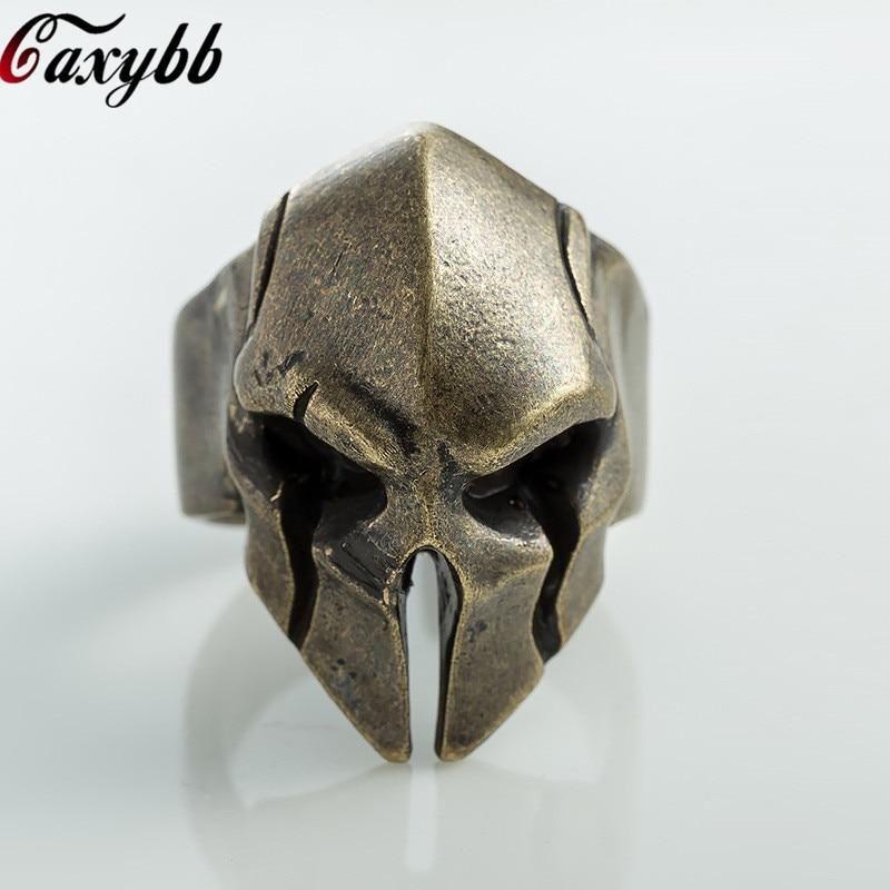 Mens Stainless steel Biker Motorcycles riders Rings Spartan Mask Knight Helmet