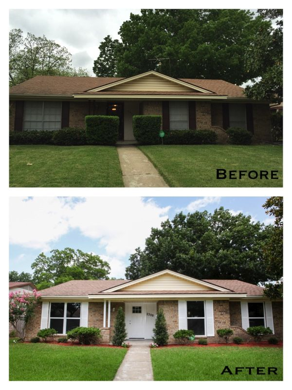 Ranch Home Light Brown Brick White Shutters White Trim Red Mulch Remodel Before After