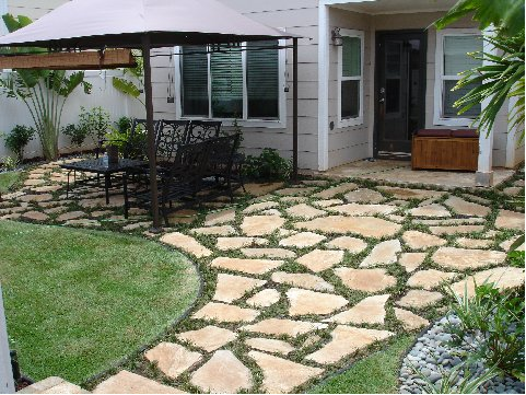 Add Flagstone Pavers Beside Driveway Where Spruce Will Be