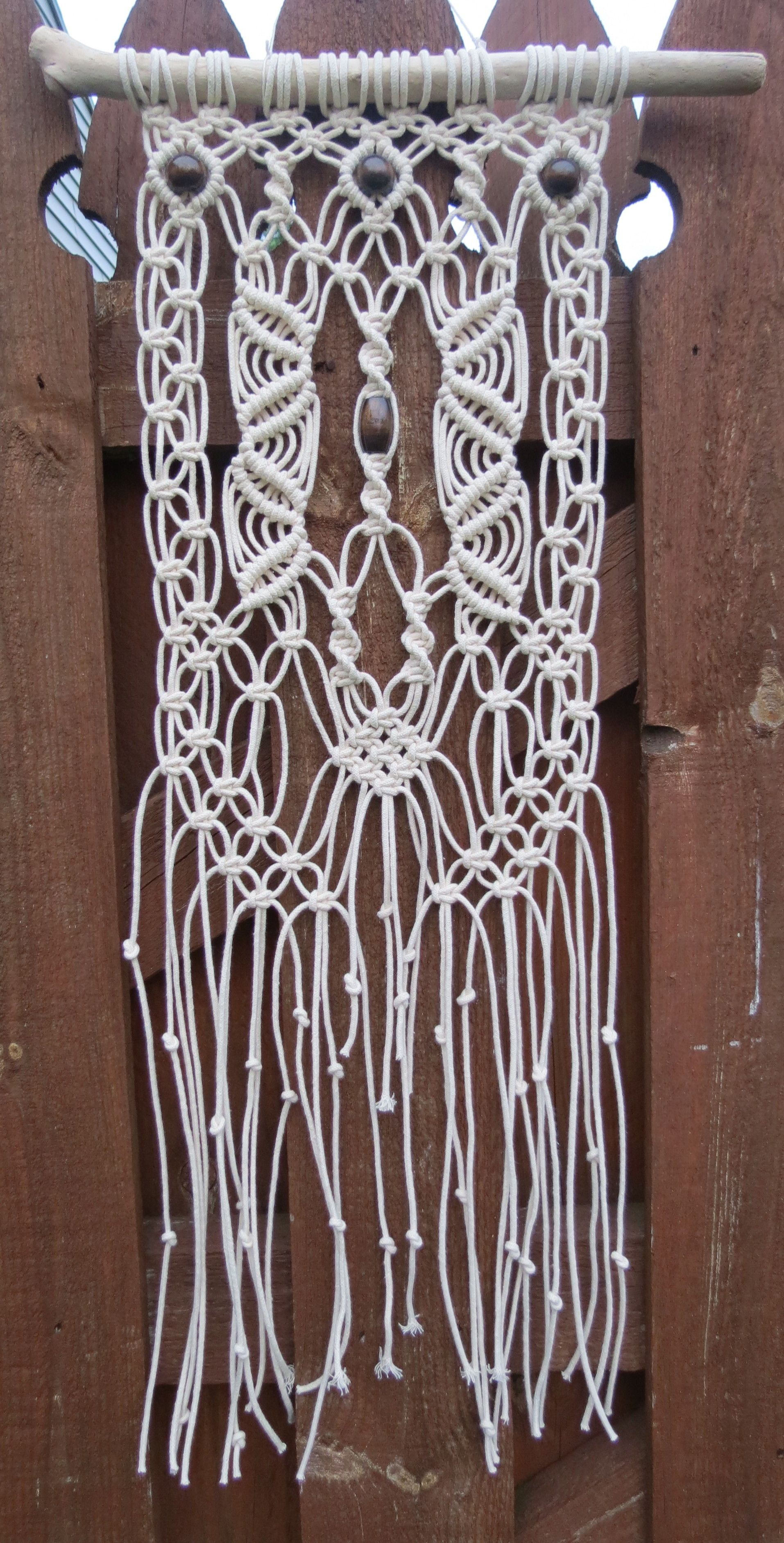 Driftwood Wall Hanging white cotton macrame wall hanging, macrame wall art, wall tapestry
